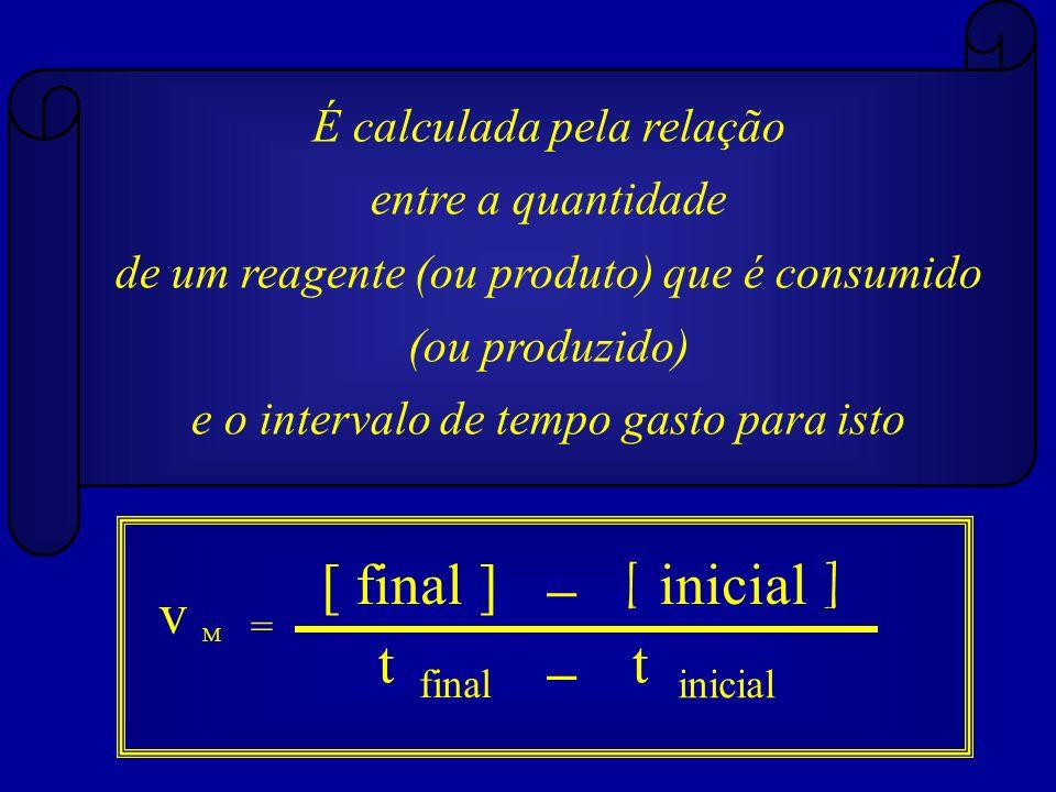 [ final ] – [ inicial ] v t – t É calculada pela relação